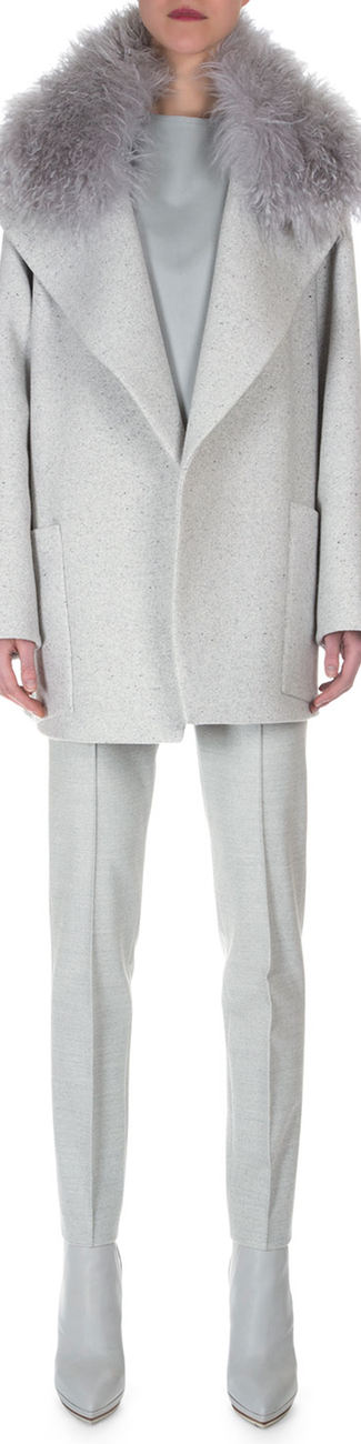 Akris Double-Faced Speckled Short Coat, Napa Leather Paneled Combo Top, Stretch Flannel Pleated Slim Pants