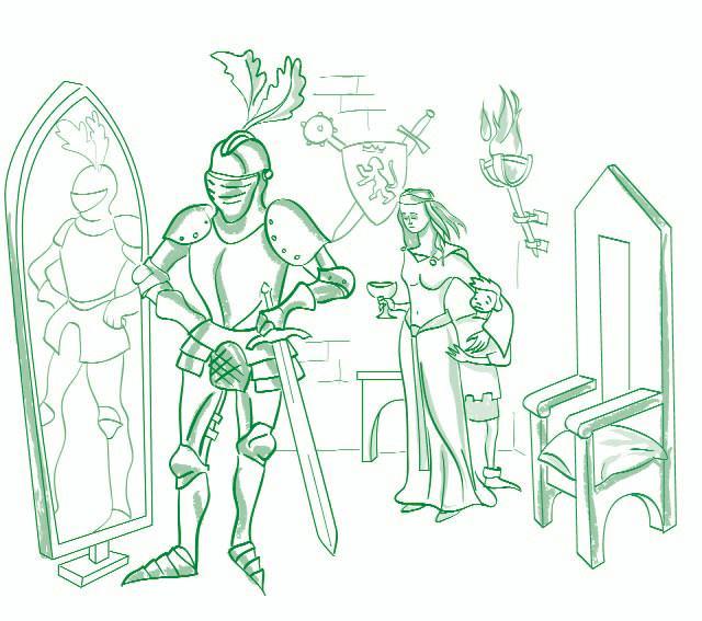 El caballero de la armadura oxidada-El dilema el caballero-ilustración: Mario Diniz-© FAD 2009