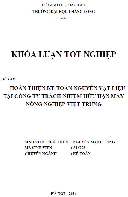 Hoàn thiện kế toán nguyên vật liệu tại Công ty TNHH Máy Nông Nghiệp Việt Trung