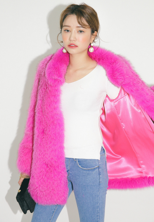 Single Tone Fur Jacket