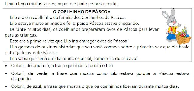 Texto O COELHINHO DE PÁSCOA