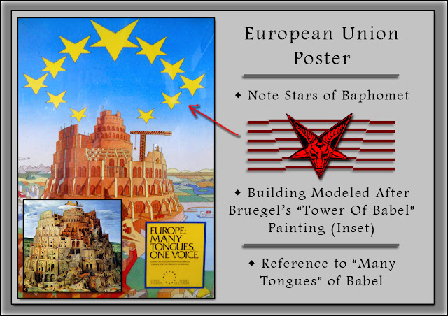 """European Union Poster — With Stars Of Baphomet - Building Modeled After Bruegel's """"Tower Of Babel"""" Painting - And Reference To """"Many Tongues"""" Of Babel"""