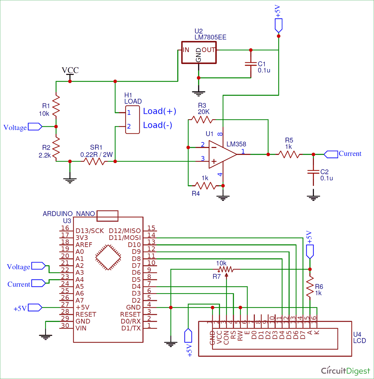 for ease of understanding the arduino wattmeter circuit is split into two units the upper part of the circuit is the measuring unit and the lower part of  [ 1300 x 1316 Pixel ]