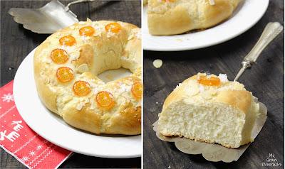 Roscón de Reyes con kumquats confitados y almendras