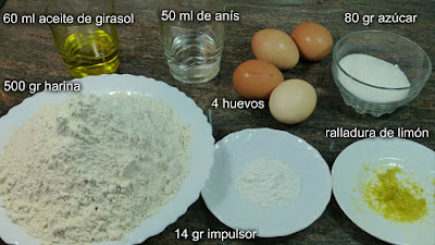 Rosquillas fritas. Ingredientes