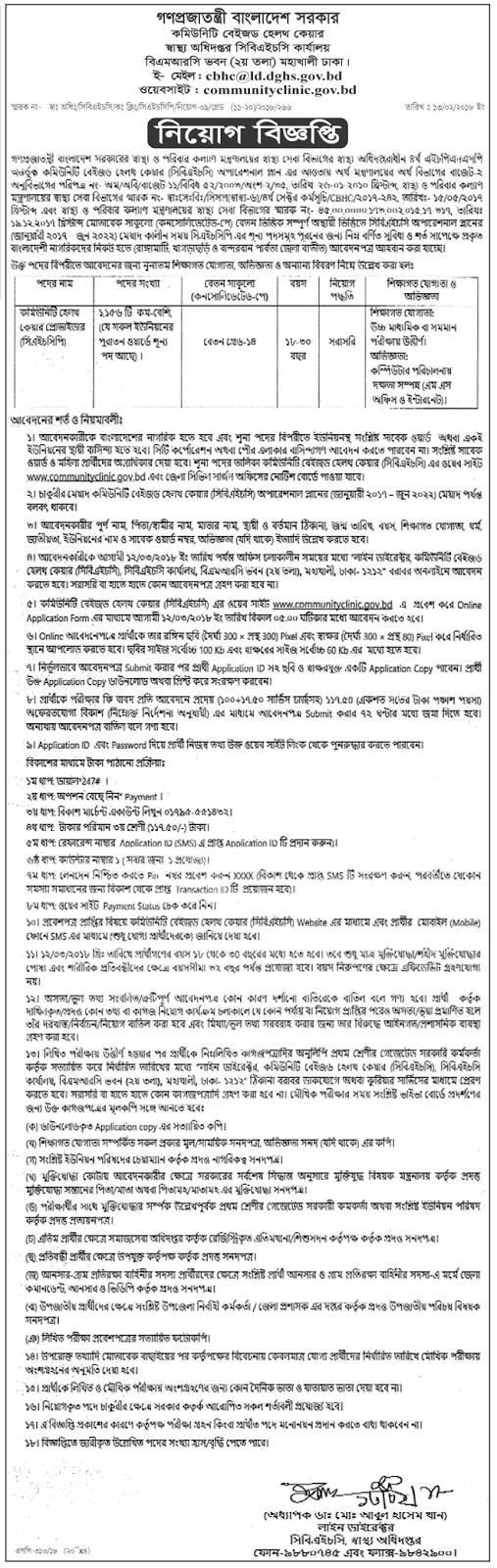 CHCP - Community Health Care Provider Job Circular 2018