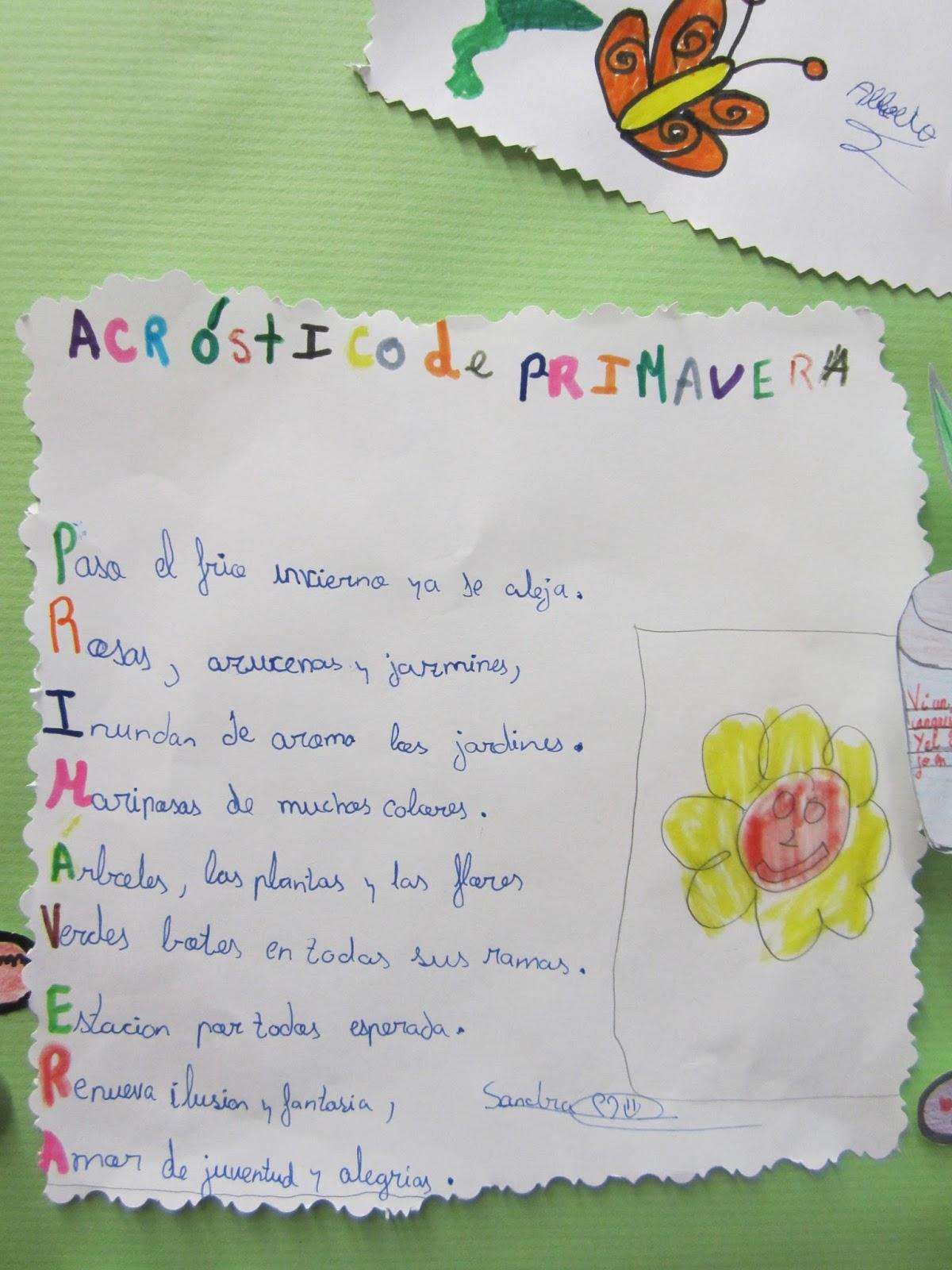 Bonito Primavera Hoja Poema Acróstico Componente - hojas de trabajo ...