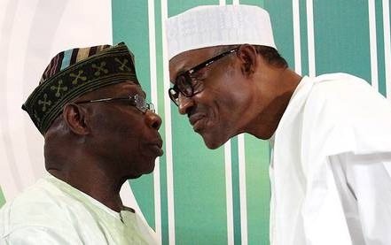 Buhari and Obasanjo face on eachother