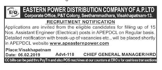 AP Eastern Power APEPDCL Assistant Engineer 15 Govt Jobs Online Recruitment AE Electrical Exam Notification 2019