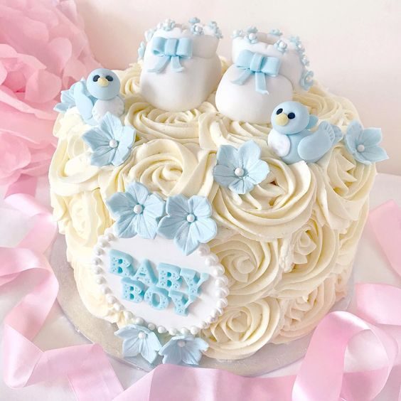 Love, Catherine | Bluebirds & Booties Baby Shower Cake