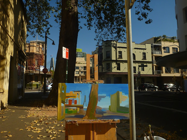 plein air oil painting of the Terminus Hotel Pyrmont by industrial heritage artist Jane Bennett