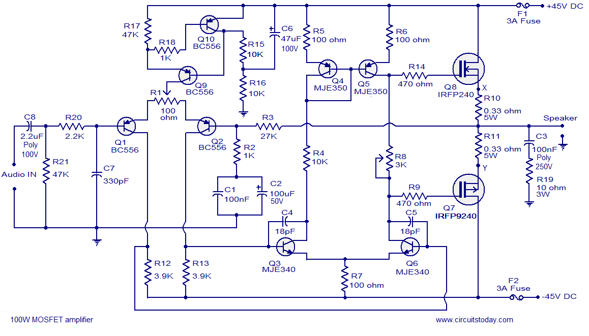 simple high watt fet amplifier circuit diagram mos fet circuit diagram 100w mosfet power amplifier - the circuit