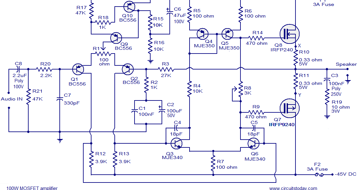 100w mosfet power amplifier the circuit. Black Bedroom Furniture Sets. Home Design Ideas