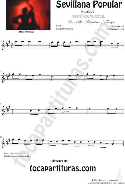 Sevillana Popular Partitura de Saxofón Alto y Sax Barítono Sheet Music for Alto and Baritone Saxophone Music Scores