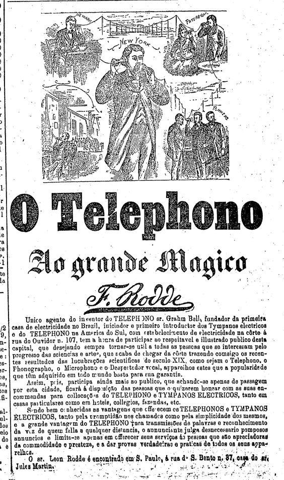 Primeira campanha publicitária do sistema telefônico brasileiro apresentado no final do século XIX