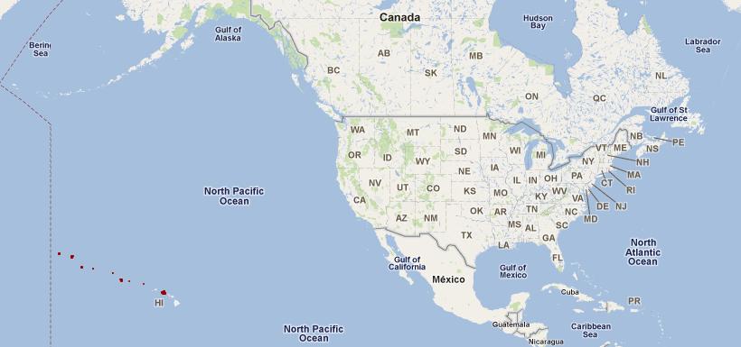 Us Map Showing Alaska And Hawaii