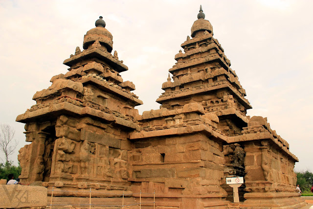 Shore temple has three shrines, two of which have pyramid shaped gopuras (temple tower)