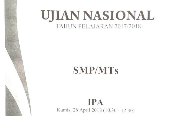 Soal UN IPA SMP Tahun 2018