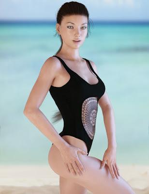 X-Fashion Crochet Bathing Suit for Genesis 3 Female(s)