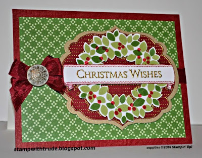 Wondrous Wreath Elegance card, Stampin' Up!, created by Trude Thoman, stampwithtrude.blogspot.com , wondrous wreath, Ornamental pine, Apothecary Arts, elegant Christmas card