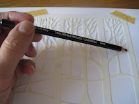 applying colour - gently hold the end of the pencil