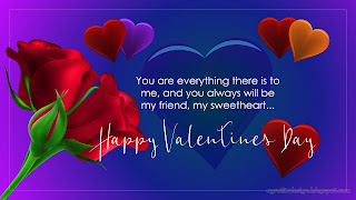 Sweet Happy Valentines Day Card Design With Rose Flowers Hearts And Blue Purple Background