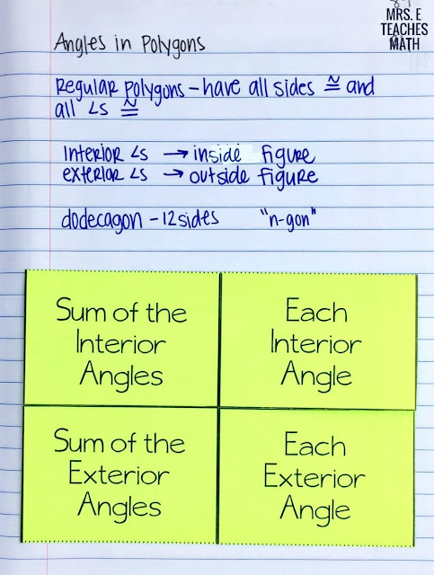 angles in polygons foldable for geometry interactive notebooks