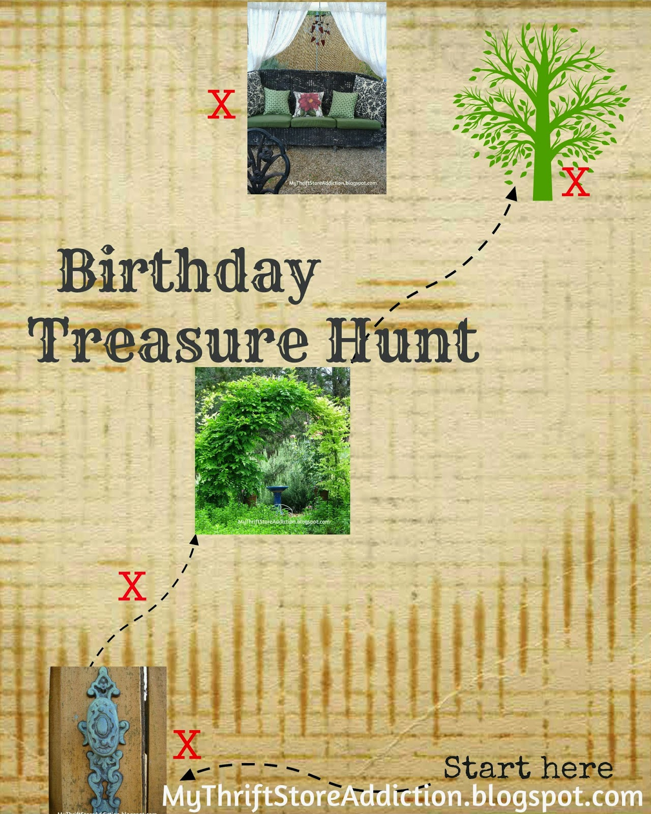 Birthday treasure hunt and map
