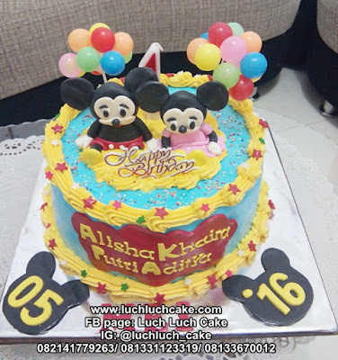 Kue Tart Ulang Tahun Mickey dan Minnie Mouse