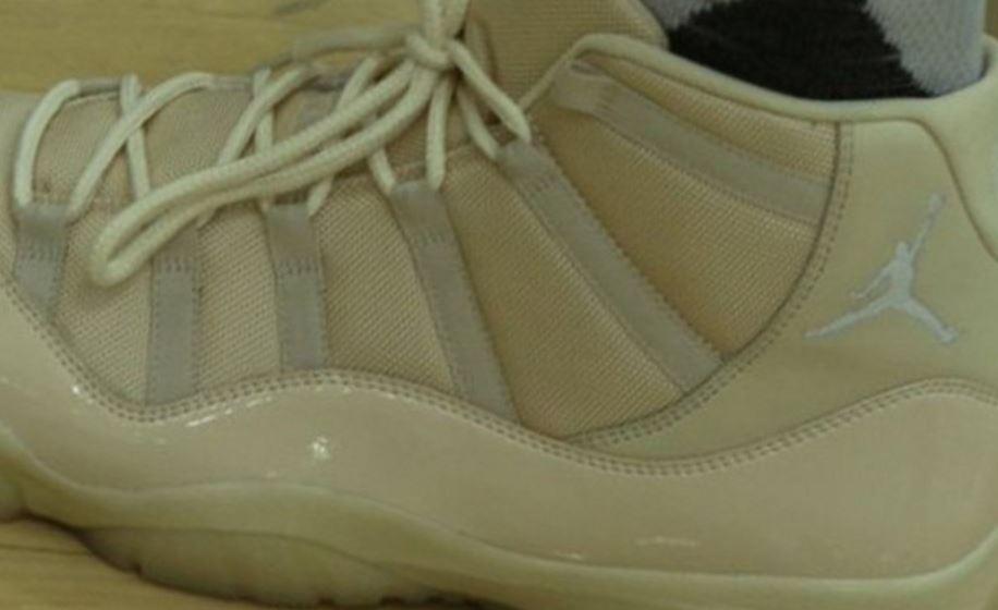 dc704c226ce162 Here is a look via the Bucks Twitter at Jabari Parker s Air Jordan 11 Retro  Cream PE Sneakers he wore during 2016 Media Day