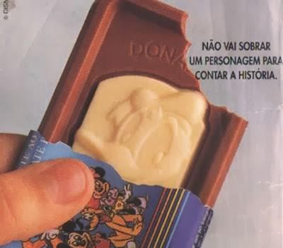 Propaganda do chocolate Nossa Turma na década de 90 (Lacta).