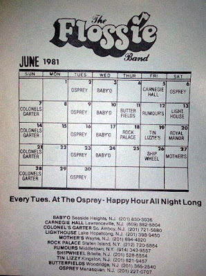 The Flossie Band club schedule for June 1981