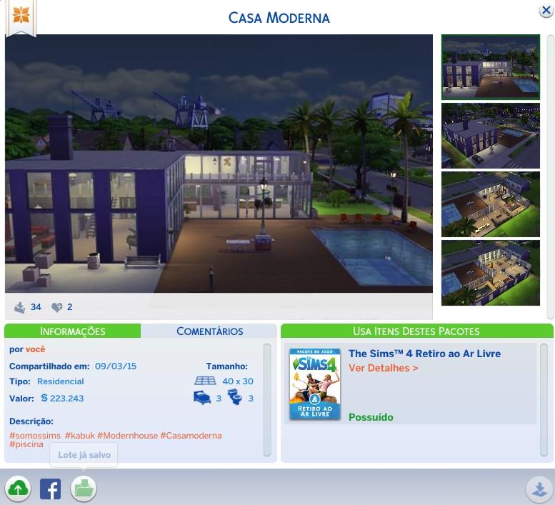 Casa moderna donwload casa the sims 4 somos sims for Casa moderna sims 3 sin expansiones