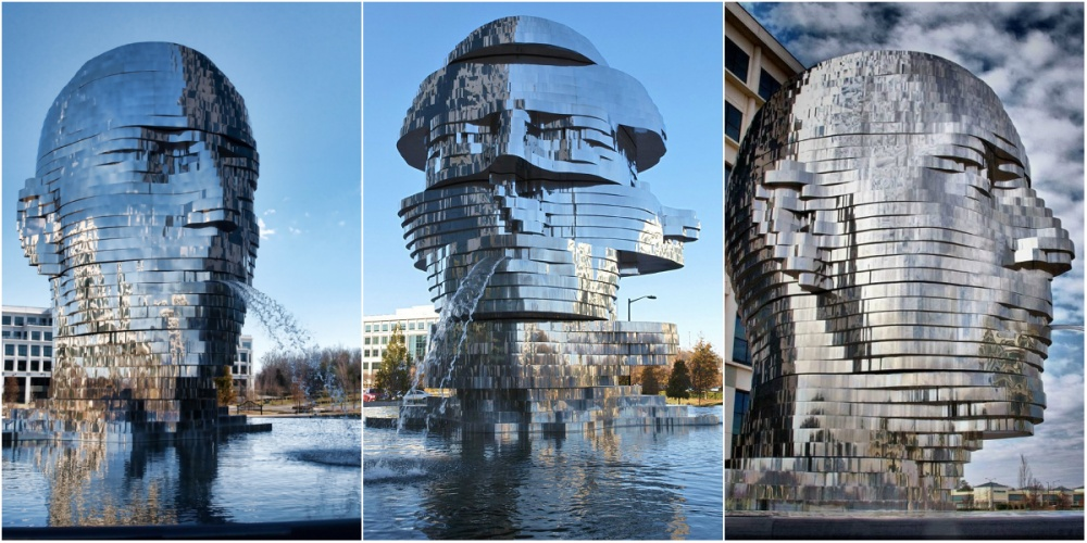 18 Amazing Fountains From All Over The World That Are Real Works Of Art - Metalmorphosis Mirror Fountain in North Carolina