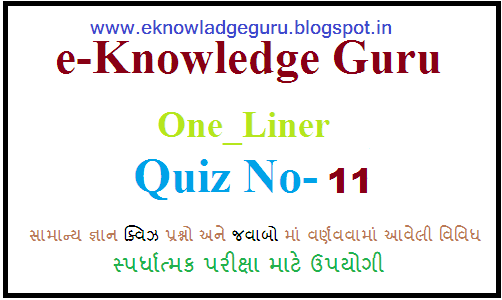ONE LINER QUIZ -11 IN PDF OF IMPORTANT 201 TO 220 QUESTIONS BY: E-KNOWLEDGE GURU