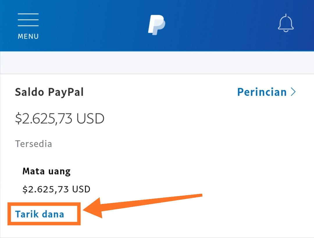 Tarik dana Paypal ke bank