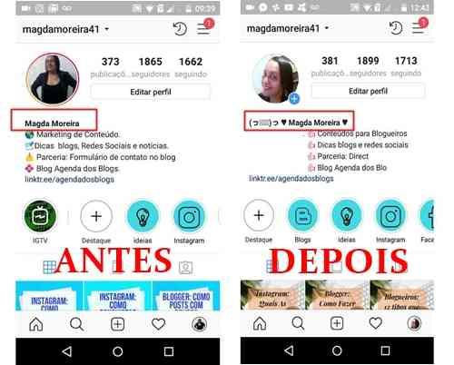 Instagram: Mudando a fonte do nome de perfil