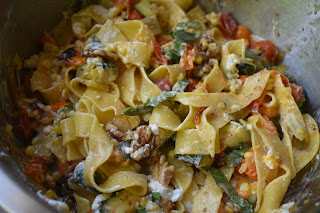 Pappardelle Pasta with Roasted Summer Vegetables and Goat ...