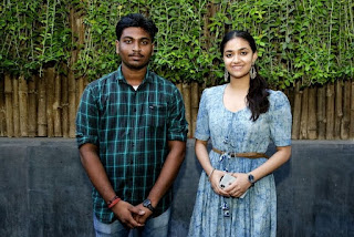 Keerthy Suresh in Blue Dress with Cute and Lovely Smile with a Fan 11