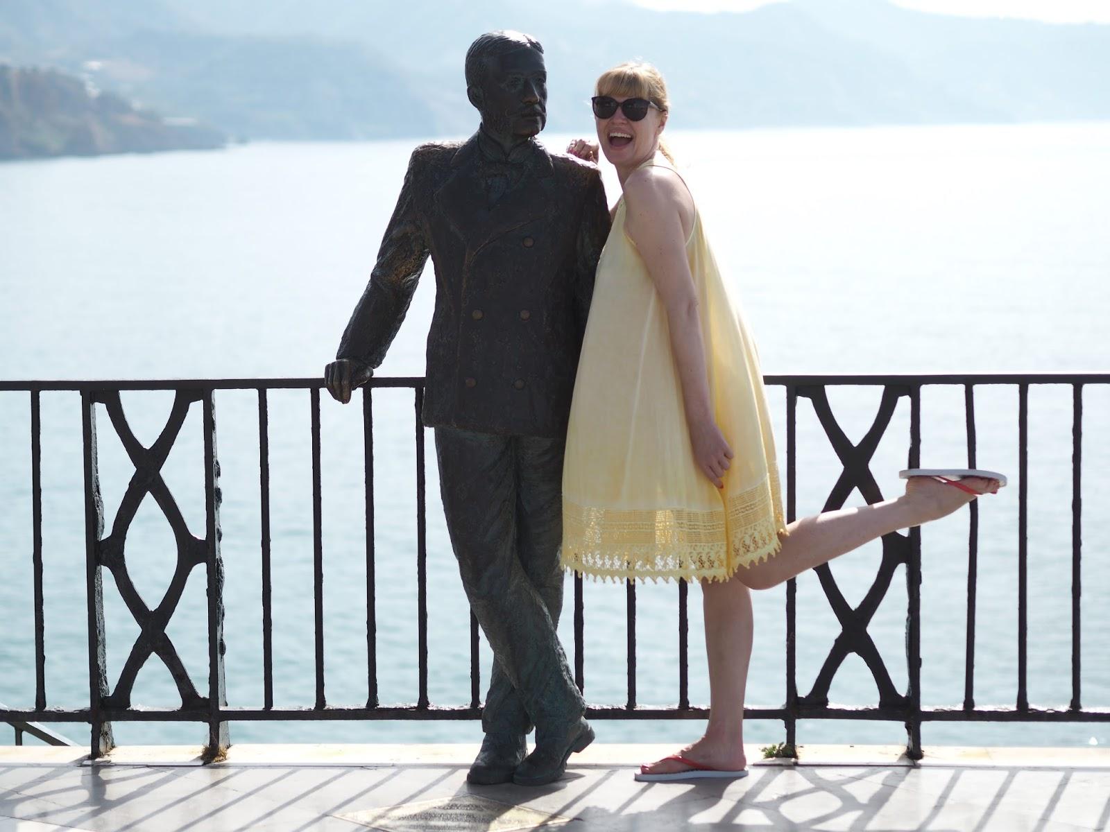 Floral bikini and yellow lace beach cover-up dress, El Balcon de Europa, Nerja