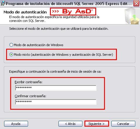 Estableciando password en modo mixto