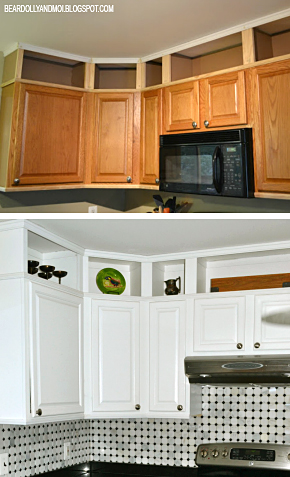 oak builder's grade kitchen transformed with paint, moldings and love