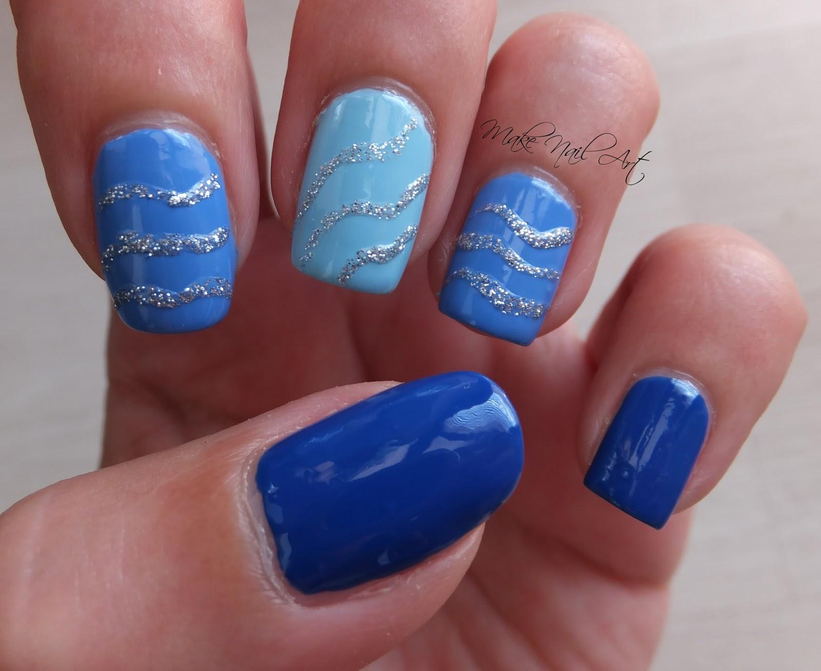 Make Nail Art: Blue And Silver Glitter Nail Art Design Tutorial