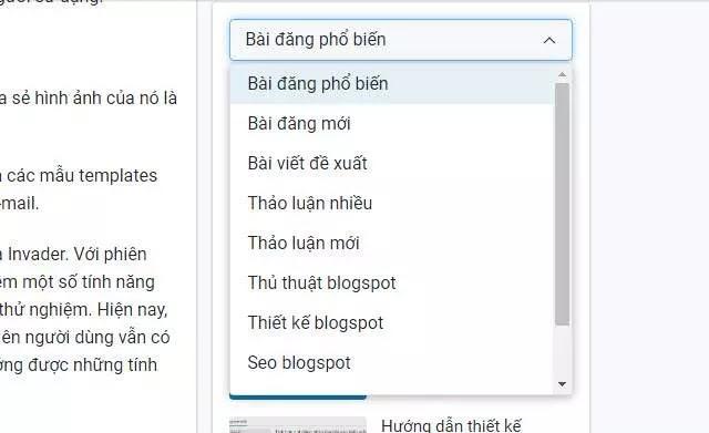Tạo widget hiển thị tổng hợp các dạng bài đăng từ widget popular posts