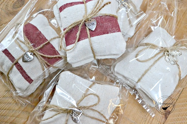 wrapped bundles of lavender sachets