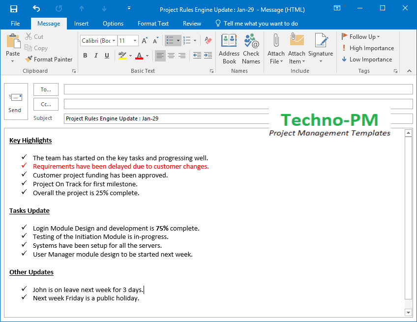 Project Status Update Email Sample  Templates and