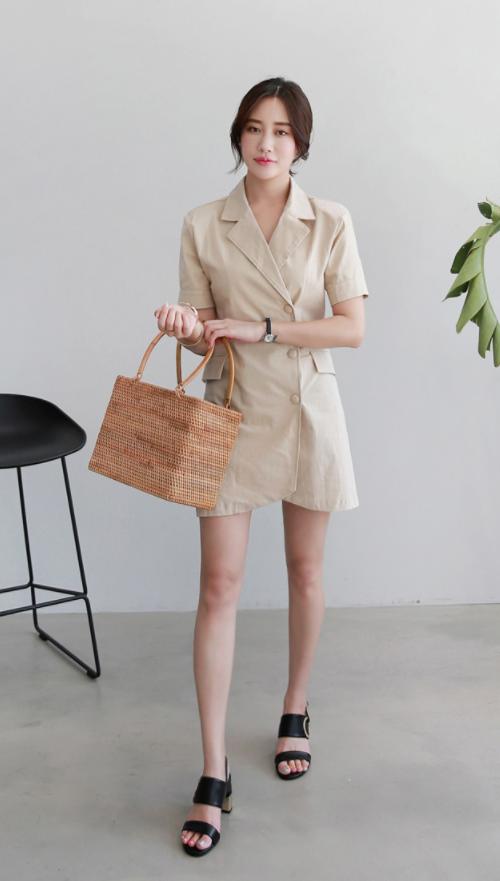 Buttoned Notch Collar Mini Dress