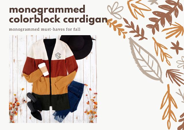 monogrammed colorblock cardigan