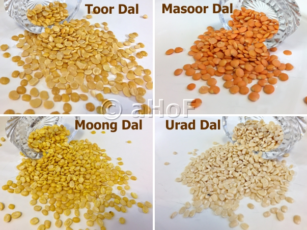 Four Dals Used in Mixed Lentil Dal