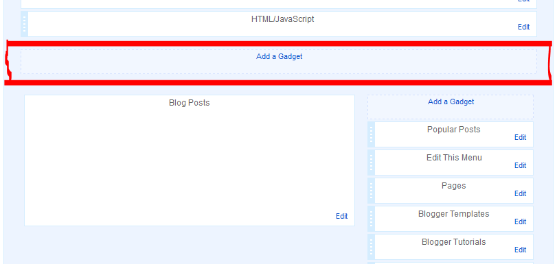 Adding a Section (Add a gadget link) in Blogger Layout